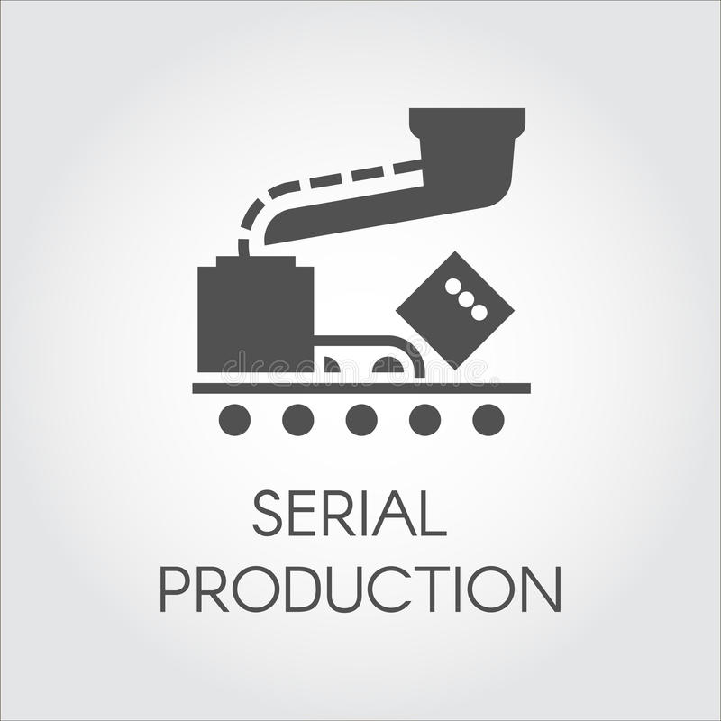 Black icon of serial production concept. Modern equipment for factories and plants. Vector illustration in flat design royalty free illustration