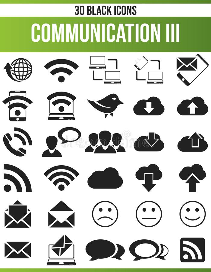 Black Icon Set Communication III. Black pictograms / icons on communication. This icon set is perfect for creative people and designers who need the issue of stock illustration