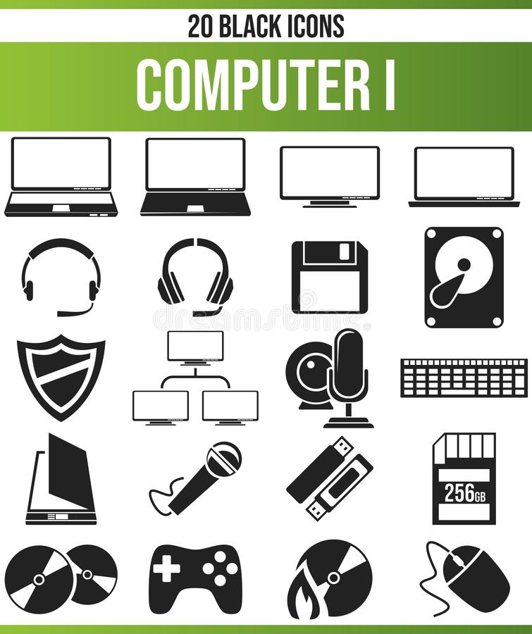 Black Icon Set Computer I vector illustration