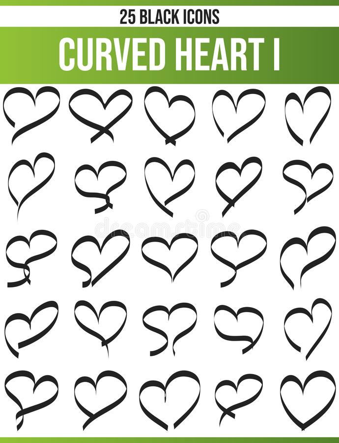 Black Icon Set Curved Hearts I royalty free illustration