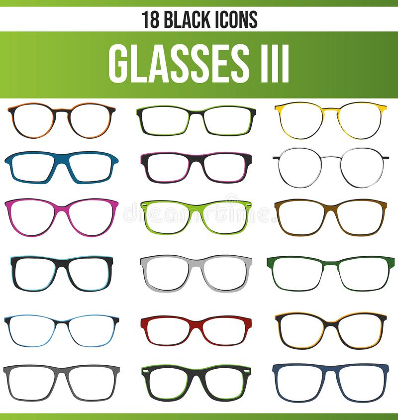 Black Icon Set Glasses III. Black pictograms / icons on glasses. This icon set is perfect for creative people and designers who need the topic glasses in their royalty free illustration
