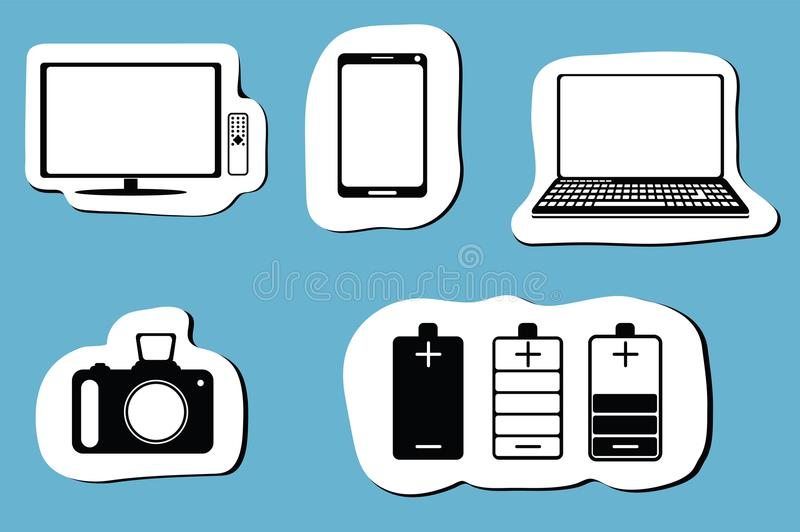 Black icon set of mobile devices, computer, camera, battery and tv. Vector illustration stock illustration