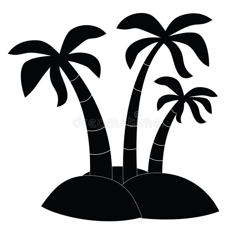 black icon three palm trees on the island raster stock
