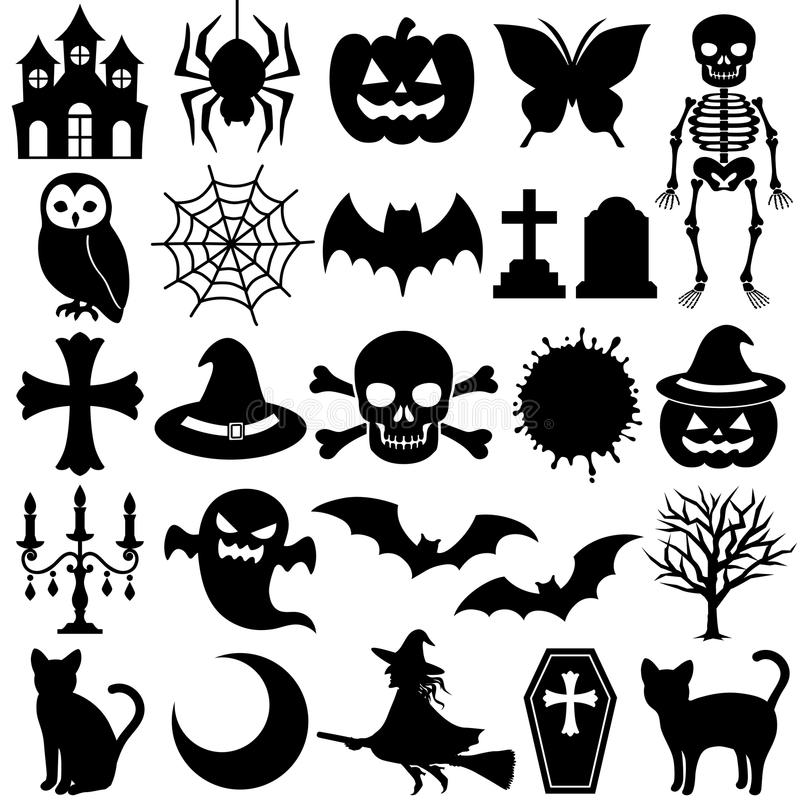 Download Black icons stock vector. Image of black, skeleton, graveyard - 21072778