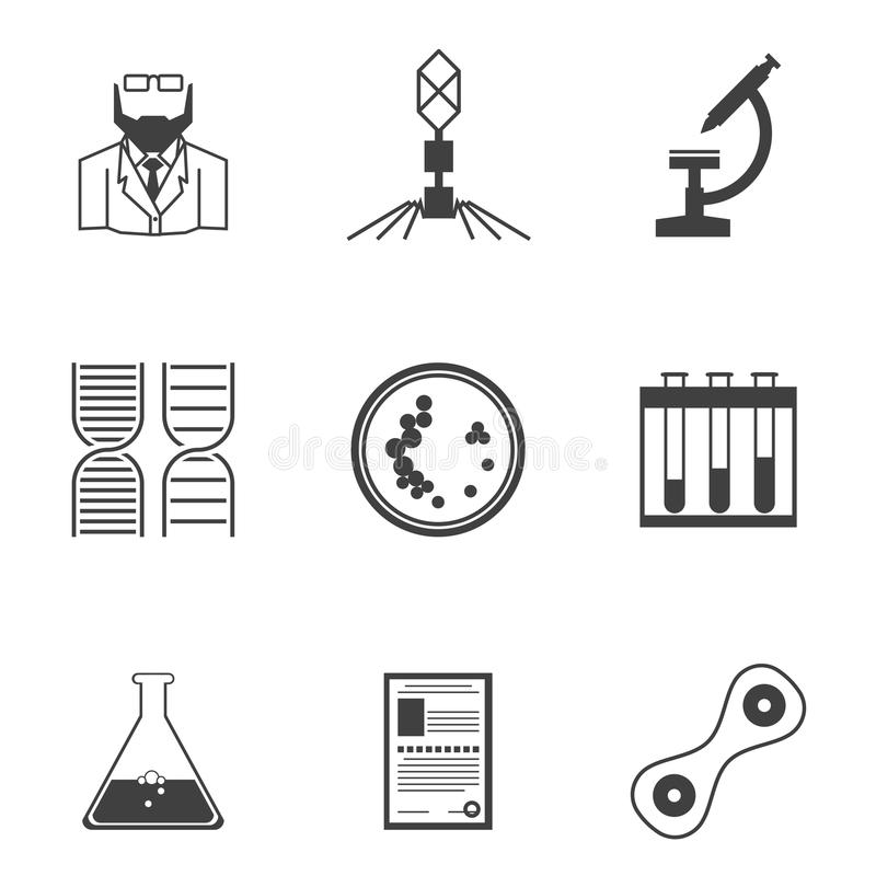Black icons for bacteriology. Set of black silhouette icons with elements for bacteriology research on white background stock illustration