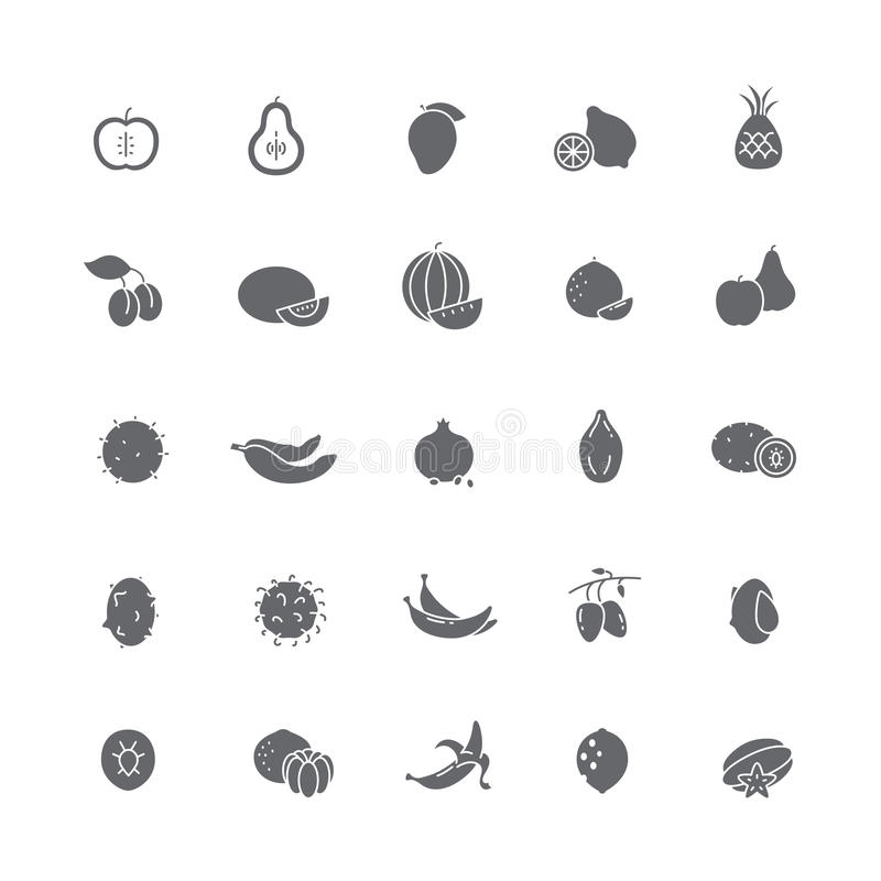 Black icons with different fruits. stock illustration