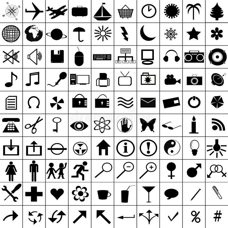 Black icons set stock illustration