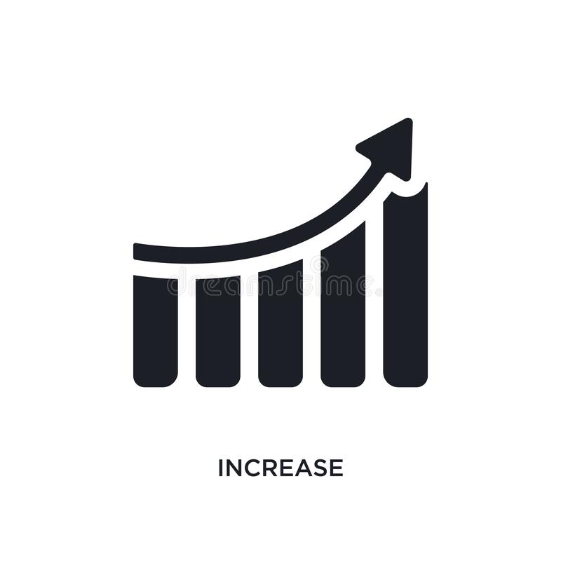 Black increase isolated vector icon. simple element illustration from startup strategy and concept vector icons. increase editable. Logo symbol design on white royalty free illustration