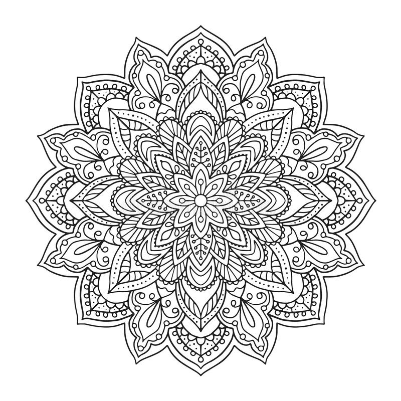 Black indian mandala on white background. Decorative flower drawing for meditation coloring book. Ethnic floral design royalty free illustration