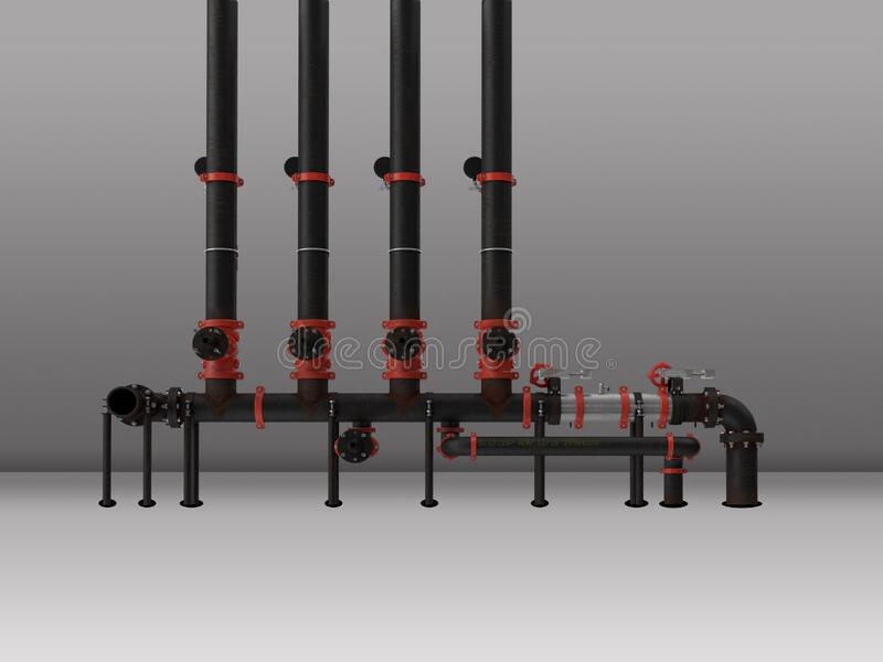 Black industrial process piping stock image