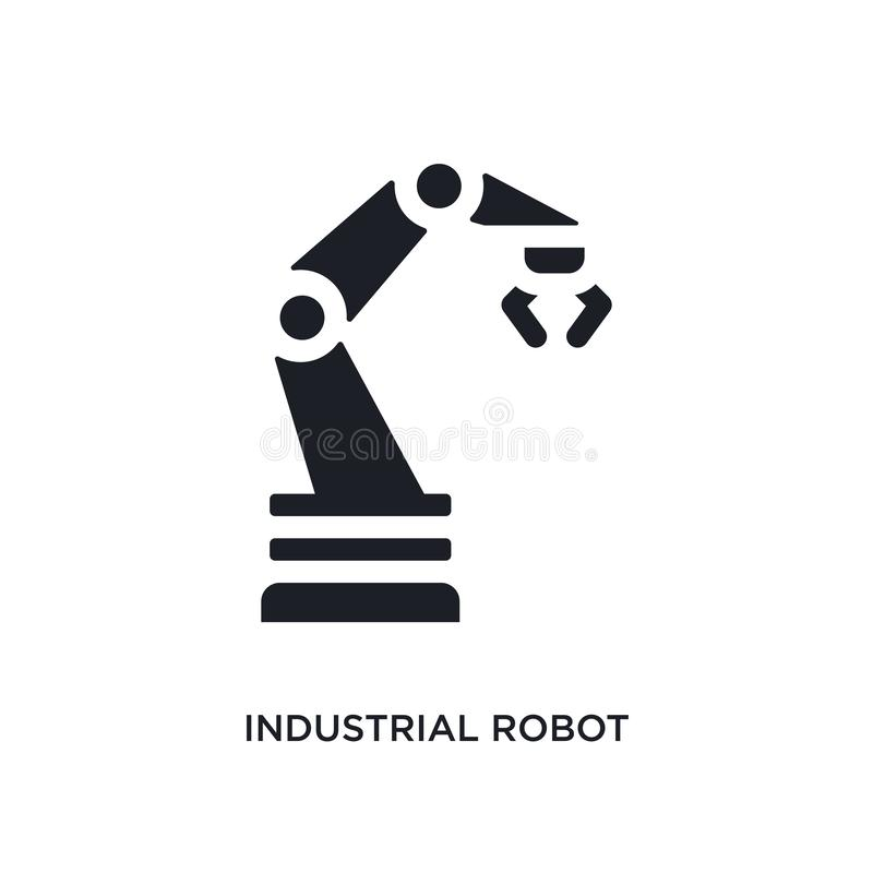 Black industrial robot isolated vector icon. simple element illustration from industry concept vector icons. industrial robot. Editable logo symbol design on stock illustration