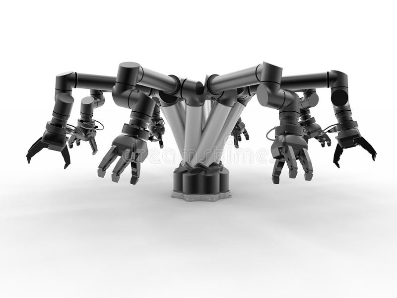 Black industrial robotic arms stock illustration