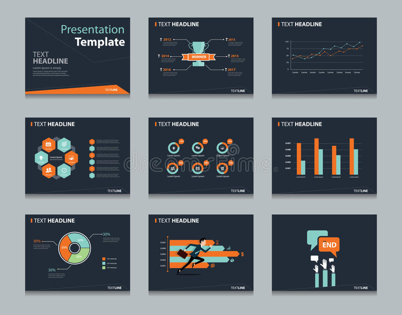 Black infographic powerpoint template design backgrounds . business presentation template set vector illustration