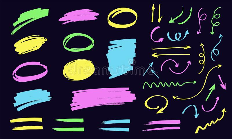 Colorful highlighters. Round and rectangular frames for text, lines and arrows drawn with markers royalty free illustration