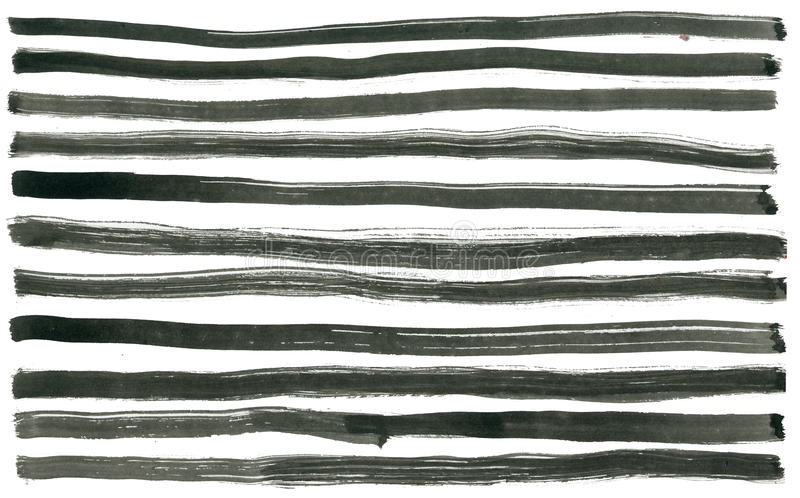 Black ink abstract stripes background. Hand drawn. Lines. Ink illustration. Simple striped background stock photography