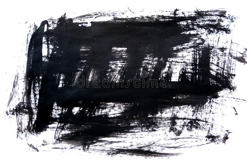 Black ink background painted by brush. Illustration. abstract black brush strokes on white paper as a background. grunge stock images