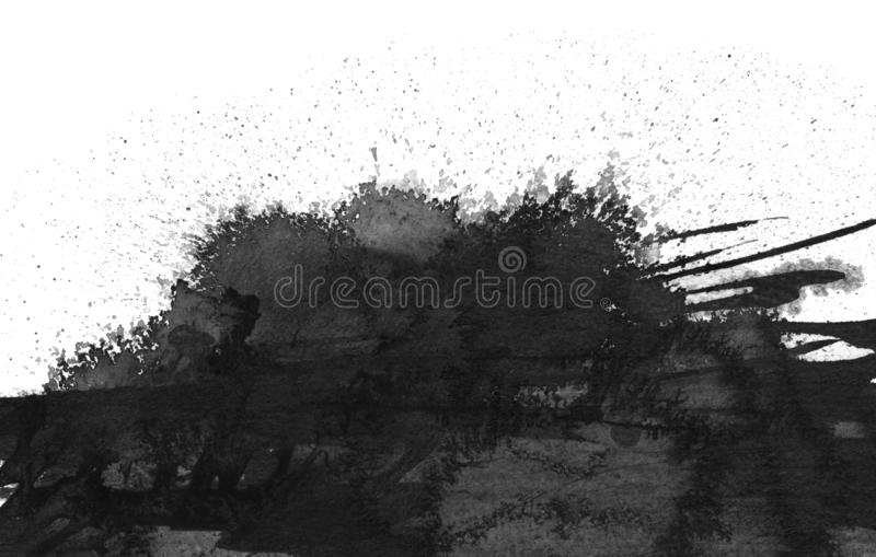 Black ink blot. Isolated on white stock images