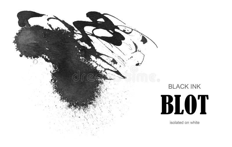Black ink blot. Isolated on white royalty free stock image