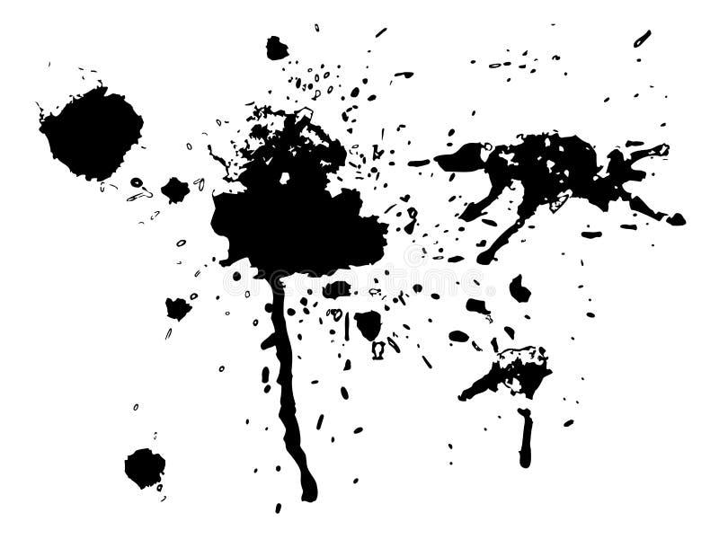 Black ink blot set. Drop black ink blot collection isolated on white background stock illustration