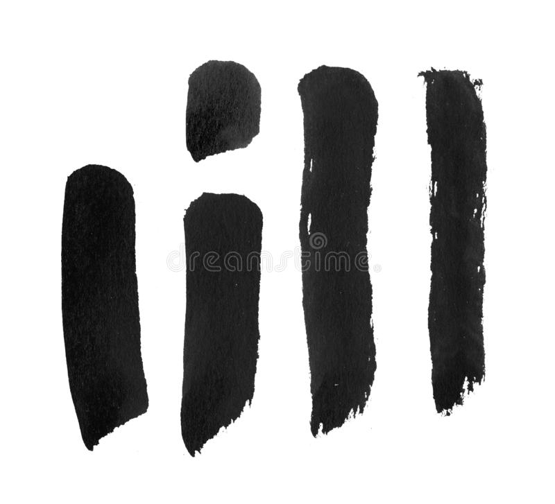 Black ink brush stroke on white background. Freehand ink stroke handdrawn illustration. Ink brush blot. Brush template for chinese calligraphy. Black ink line royalty free illustration