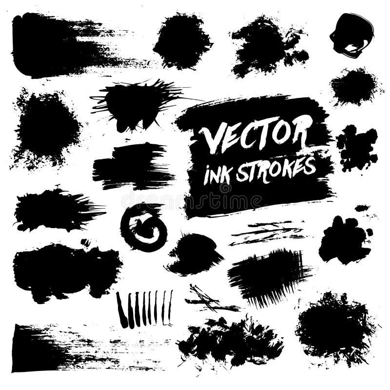 Black ink brush strokes. Vector grunge messy royalty free illustration