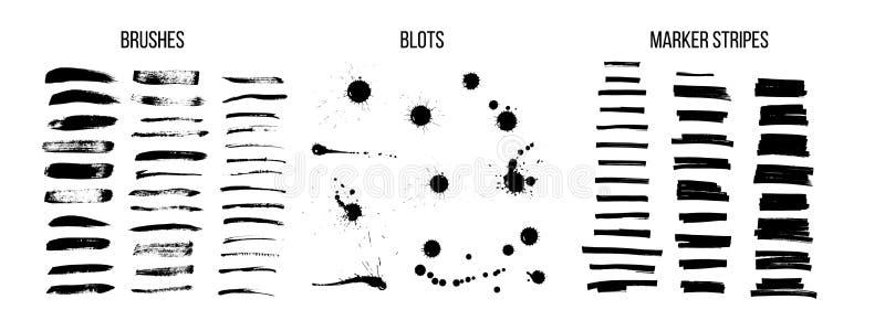 Black ink brush strokes vector set vector illustration
