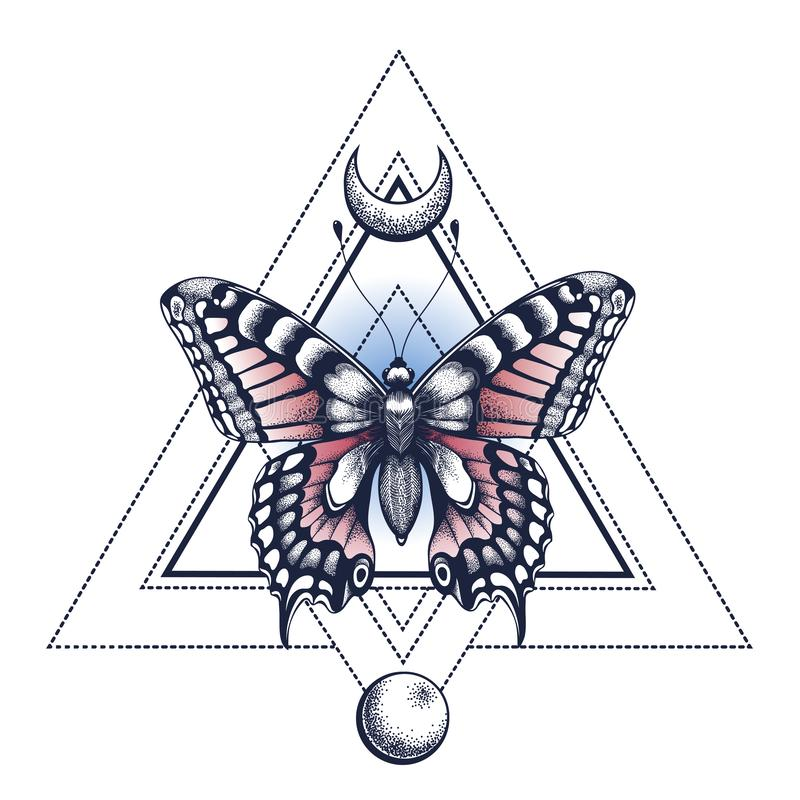 Black Ink. Butterfly, pyramid, half moon and moon. Tattoo Design. Mystical symbol of soul, immortality, rebirth. And resurrection vector illustration