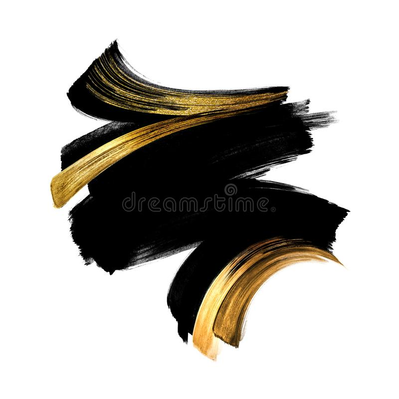 Black ink calligraphic shape with golden smear, hand painted watercolor clip art isolated on white background, gouache royalty free illustration
