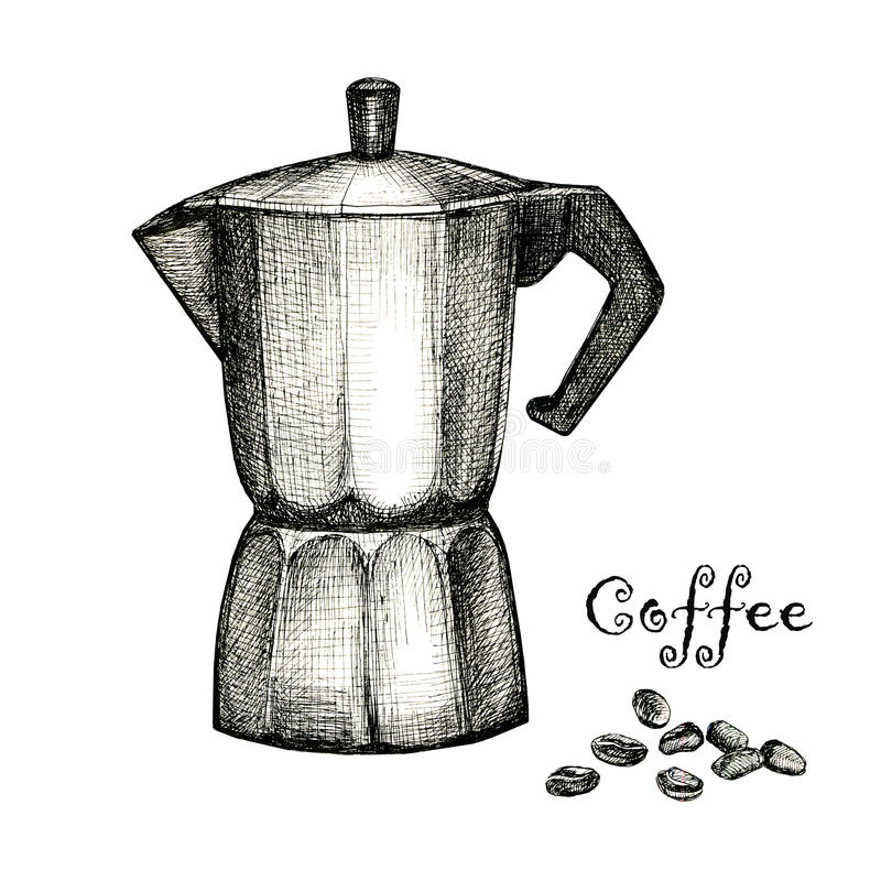 The Black Ink Drawing Of Coffee Maker Stock Illustration ...