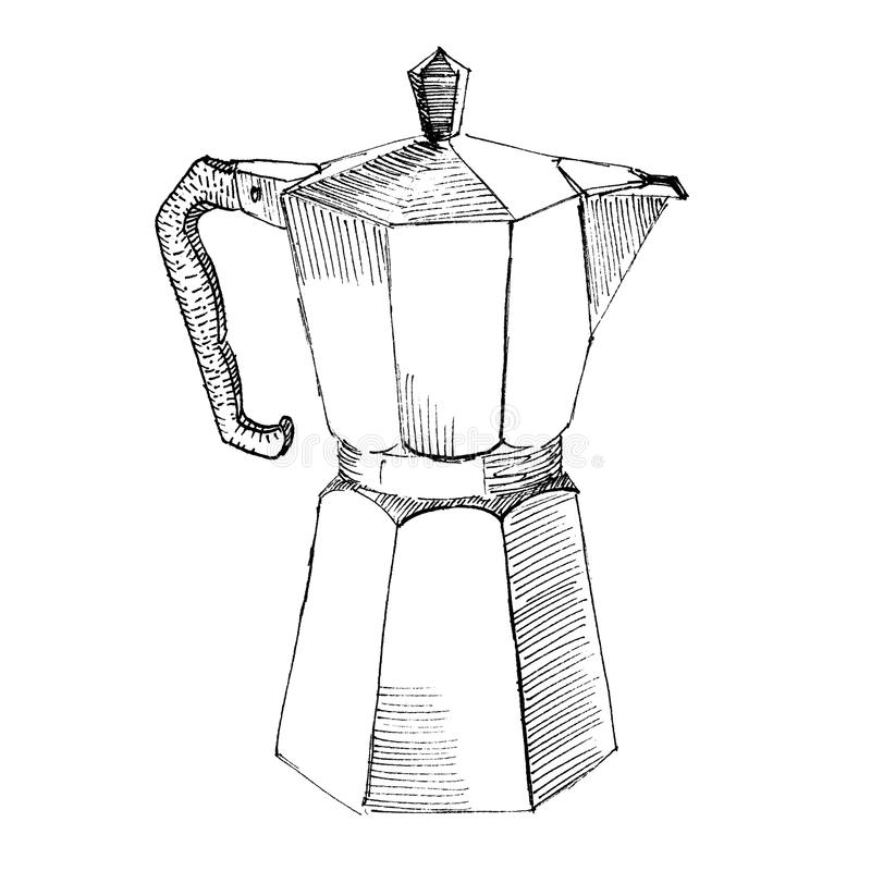 The black ink drawing of coffee maker isolated on white background. Vector illustration. Hand-drawn sketch style vector illustration