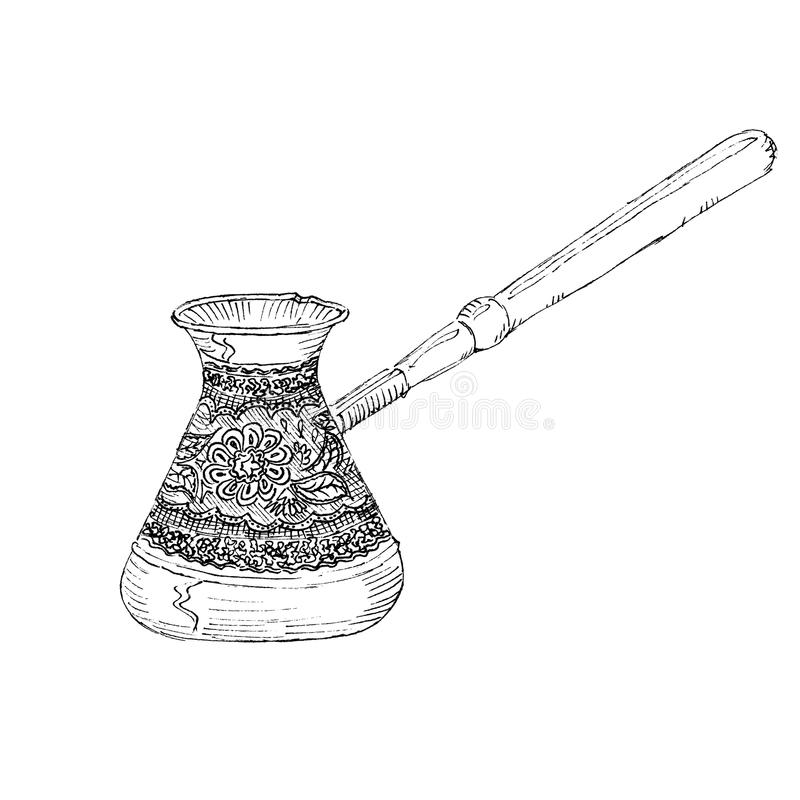 The black ink drawing of turk coffee maker isolated on white background. Vector illustration. Hand-drawn sketch style stock illustration
