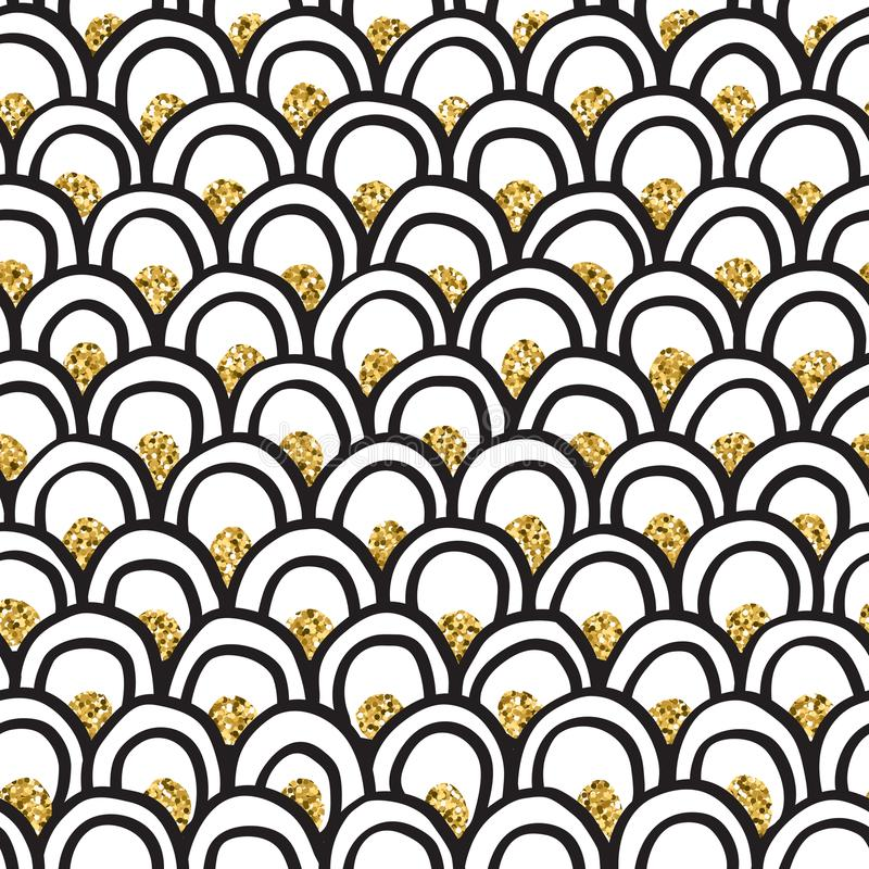 Black ink & gold glitter hand drawn doodle arcs vector pattern. Black ink, white and gold glitter hand drawn doodle arcs vector seamless pattern royalty free illustration