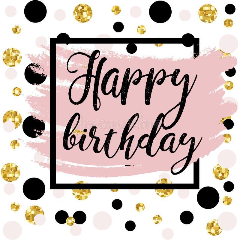 Black ink, gold glitter Happy Birthday stock illustration
