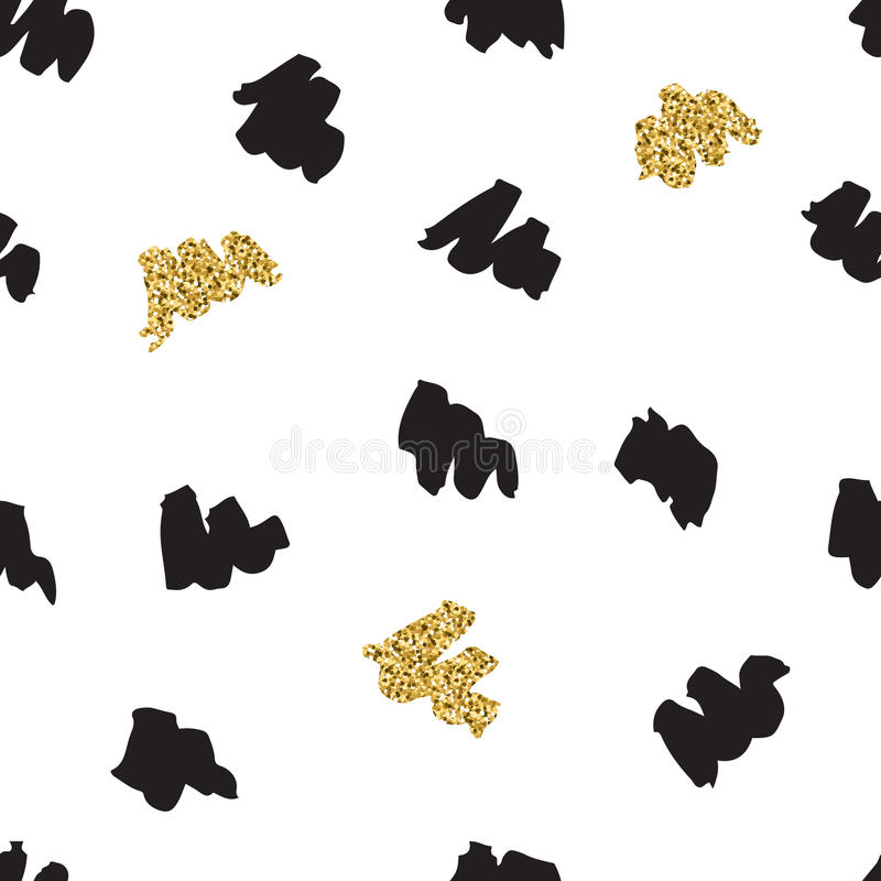 Black ink, gold hand drawn vector seamless zigzag stroke pattern. Black ink, white and gold glitter hand drawn doodle vector seamless zigzag strokes pattern royalty free illustration