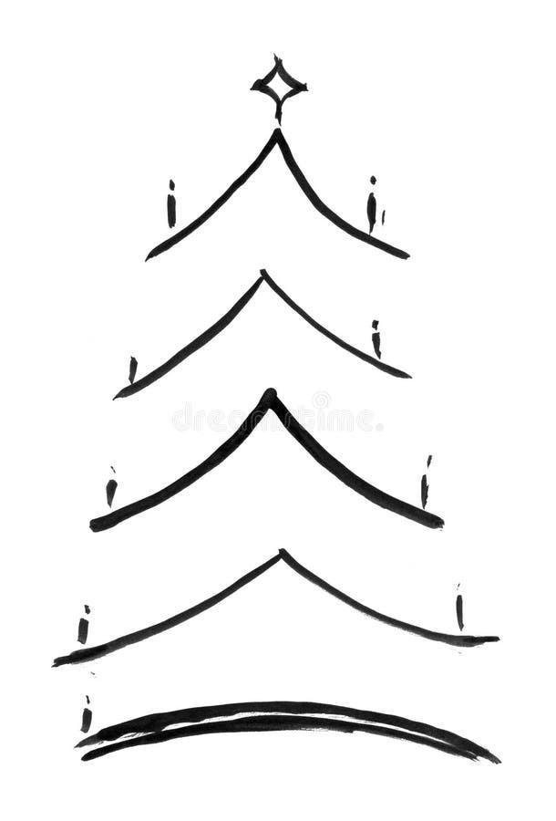 Black Ink Grunge Artistic Hand Drawing of Christmas Tree vector illustration
