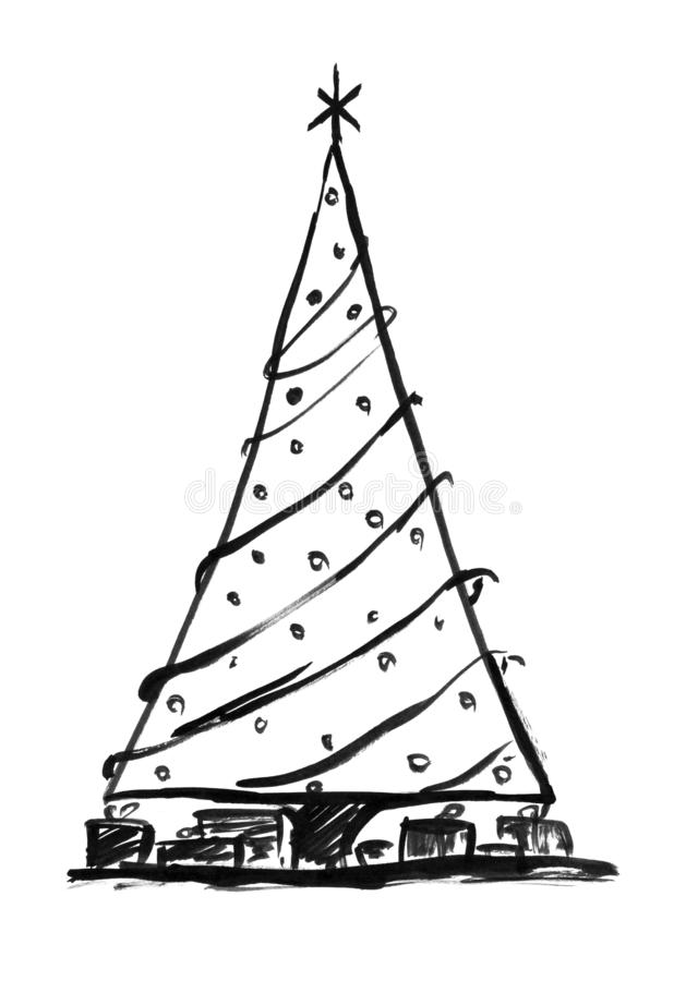 Black Ink Grunge Artistic Hand Drawing of Christmas Tree royalty free illustration