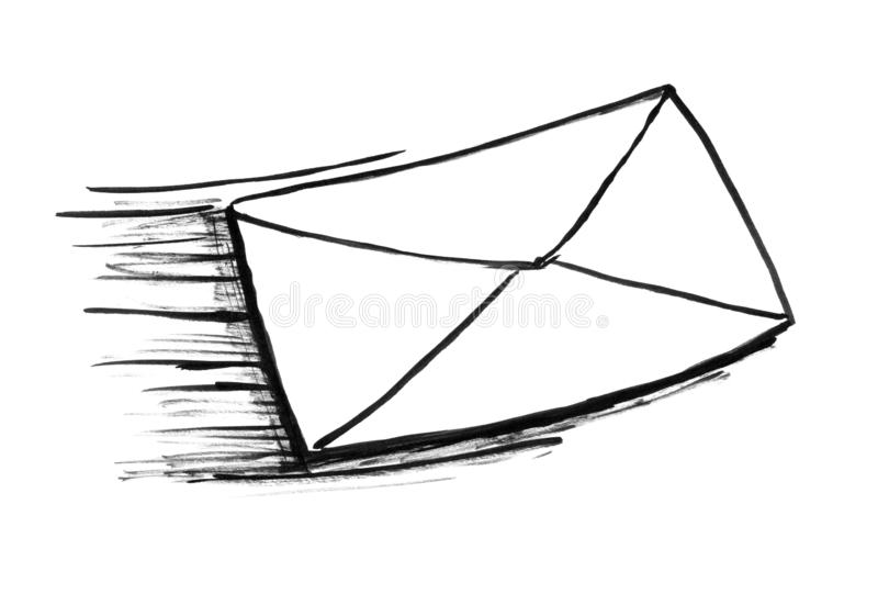 Black Ink Grunge Hand Drawing of Fast Moving Post Mail Envelope or Letter vector illustration