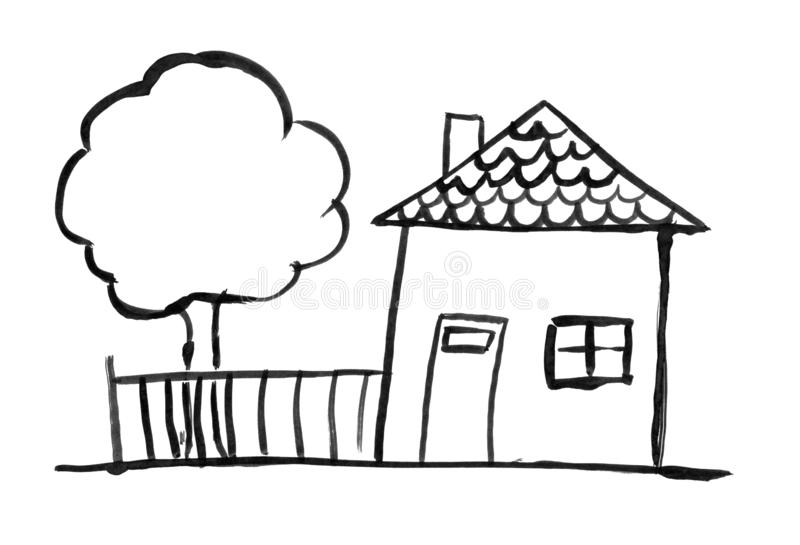Black Ink Grunge Hand Drawing of Romantic Family House and Tree and Garden Fence royalty free illustration