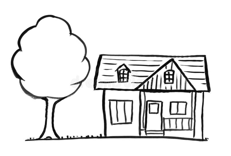 Black Ink Grunge Hand Drawing of Romantic Single-family House and Tree. Black brush and ink artistic rough hand drawing of small stand-alone single-family house vector illustration