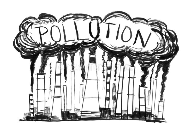 Black Ink Grunge Hand Drawing of Smoking Smokestacks, Concept of Industry or Factory Air Pollution royalty free stock photography