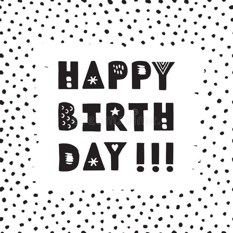 Black Ink Hand Drawn Happy Birthday Vector Greeting Card Stock