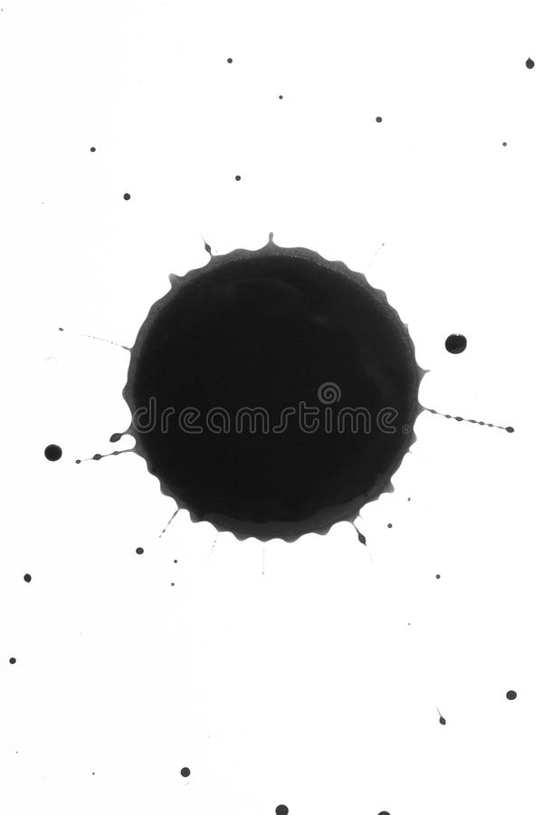 Black ink or oil splat stain dripping royalty free stock image