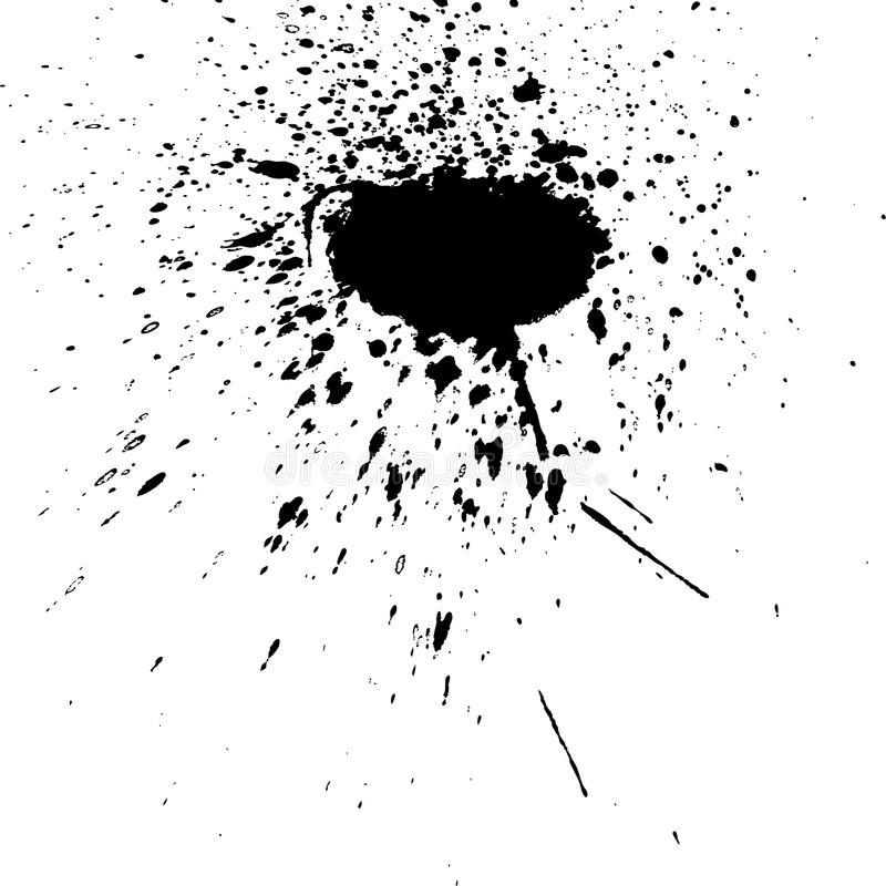 Black ink paint explosion splatter artistic cover design sketch. Drawing dot splash texture white background grunge. Trendy template vector Cover Catalog vector illustration