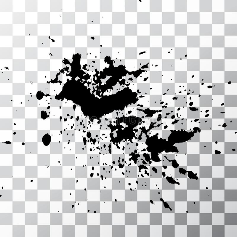 Black ink paint explosion splatter artistic cover design sketch. Drawing dot splash texture on transparent background grunge. Template vector Cover Catalog royalty free illustration
