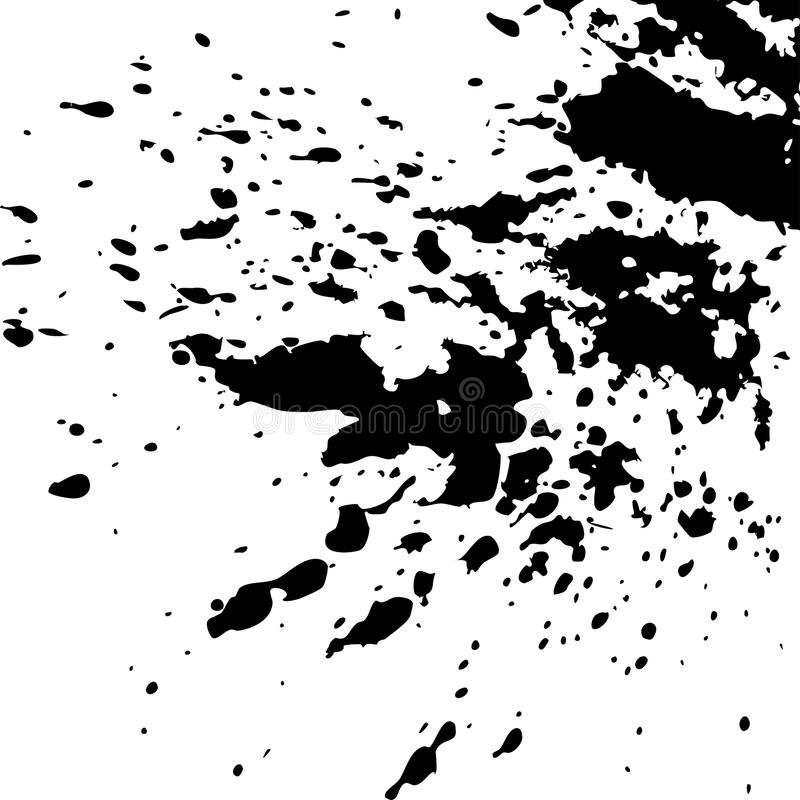 Black ink paint explosion splatter artistic cover design sketch. Drawing dot splash texture white background grunge. Trendy template vector Cover Catalog royalty free illustration