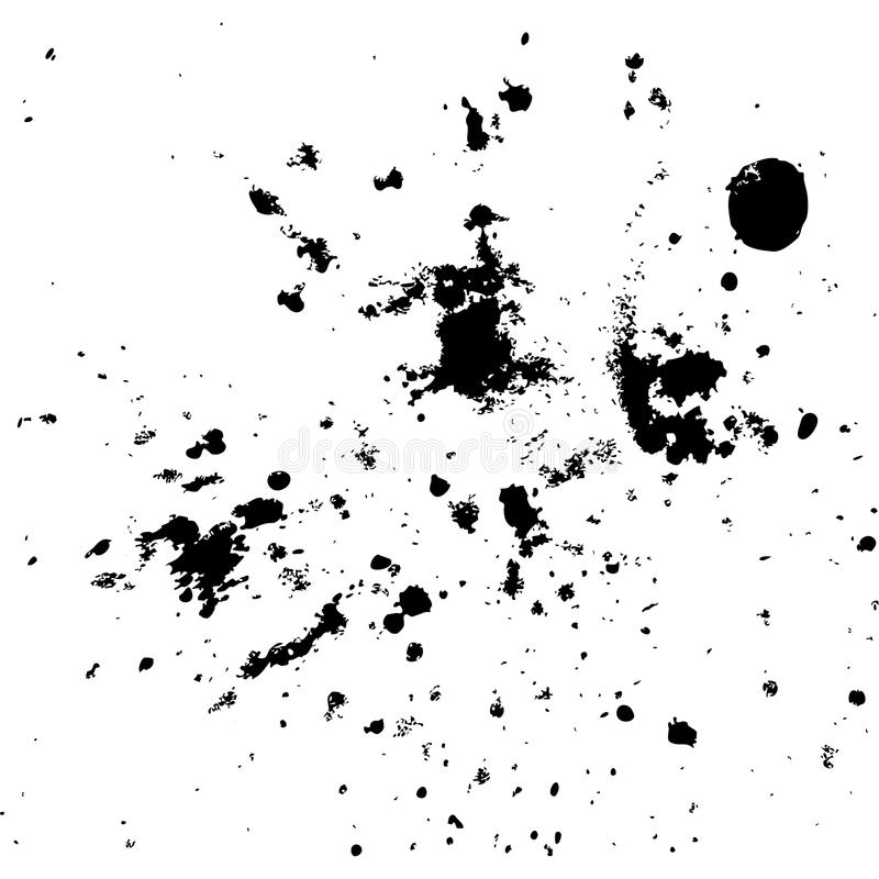 Black ink paint explosion splatter artistic cover design sketch. Drawing dot splash texture white background grunge. Trendy template vector Cover Catalog stock illustration