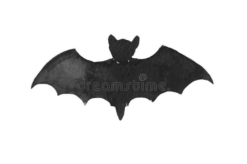 A black ink silhouette of bat stock illustration