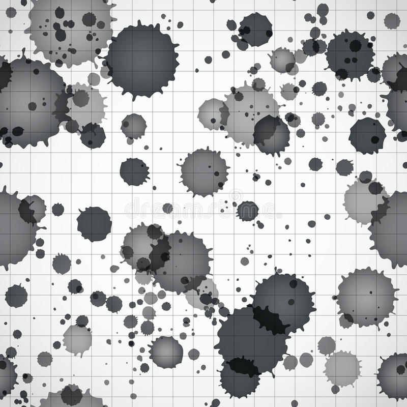 Black ink splats on a copybook page seamless background. Black ink splats on a copybook page seamless background, vector eps 10 royalty free illustration