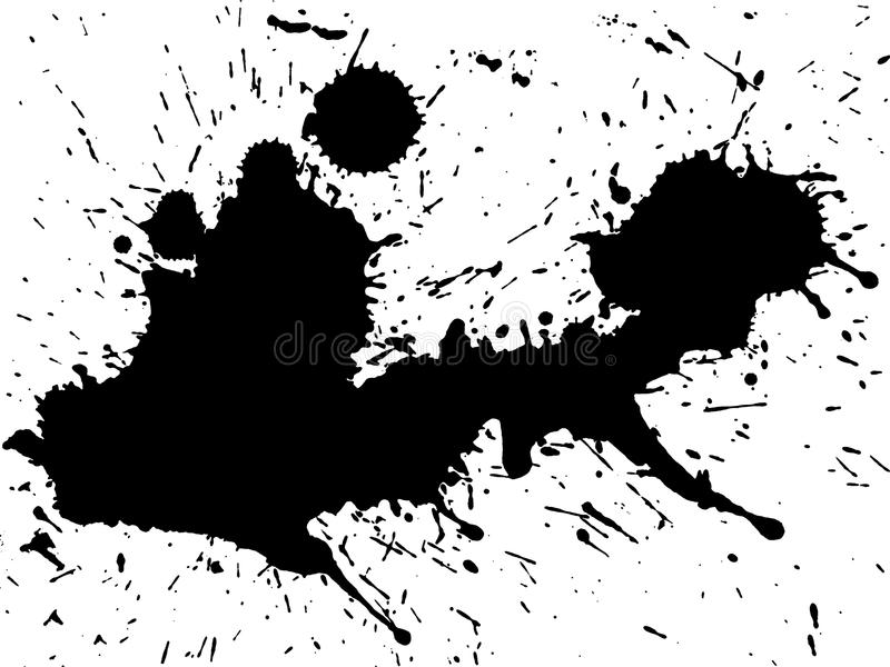 Black ink splatter. Cut out on and isolated on a white background royalty free stock images