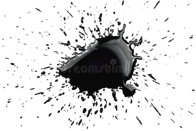 Black ink spot stain spatter splash splatter. Black ink spot stain drips splash splatter trash isolated on white stock illustration